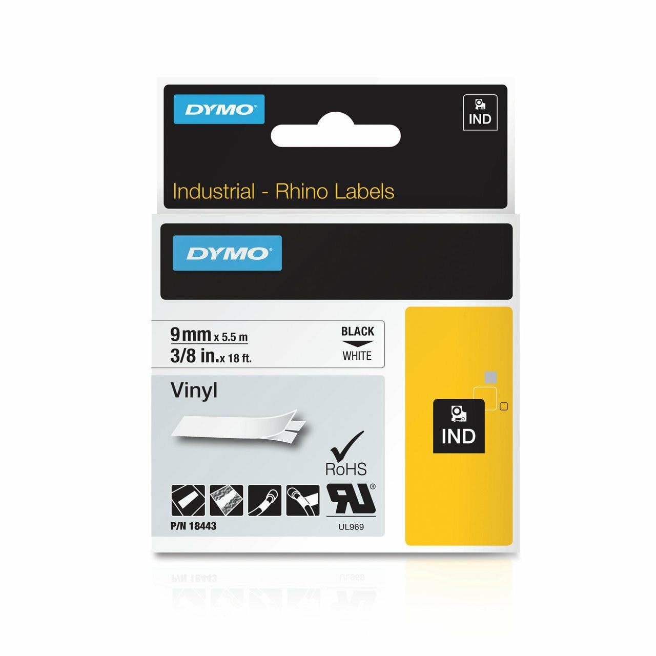 """8PK Black on WHITE VINYL LABEL 3//4/"""" 18445 for DYMO RHINO LabelPoint 300 350 19mm"""