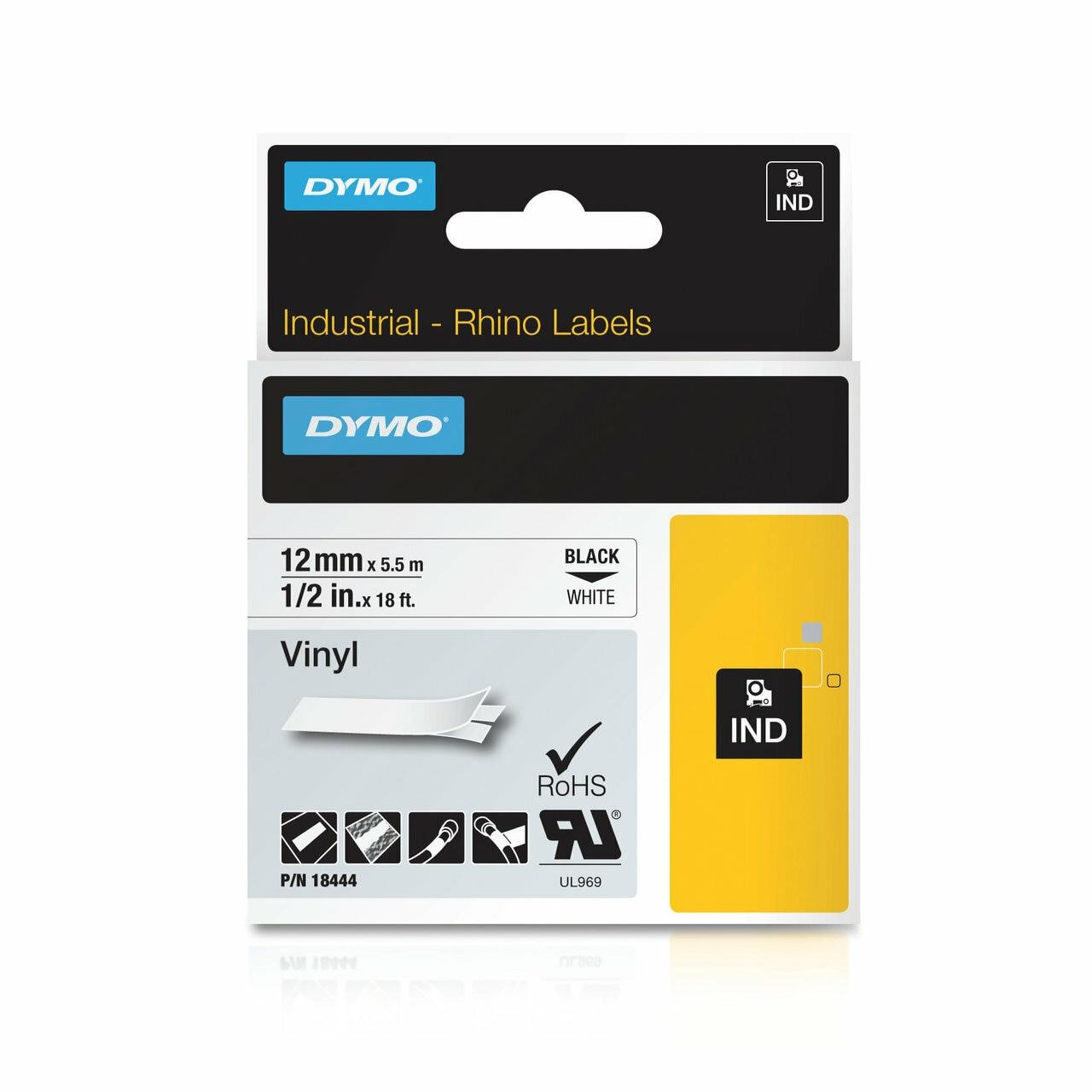 US STOCK 8PK Black on White Industrial Vinyl Label 18444 for Dymo Rhino 12mm