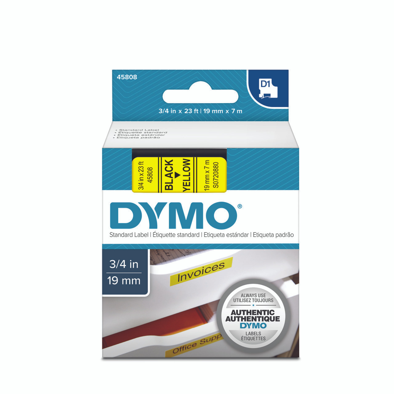 4x Compatible Dymo D1 Standard Labelling Tape 45017 12mm x 7m Black on Red