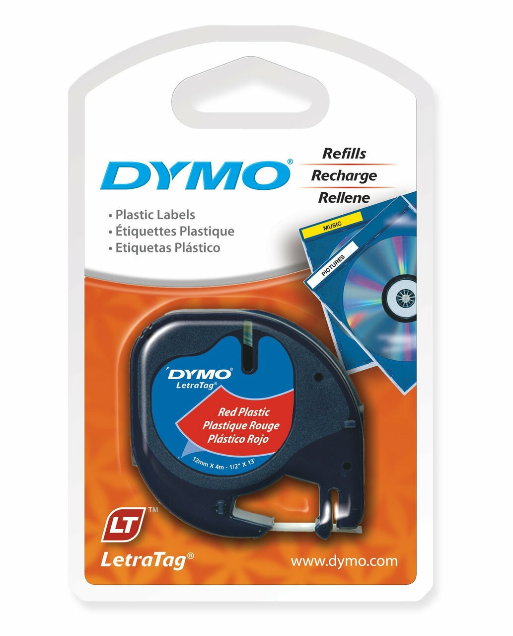 DYMO #SD91203 LETRATAG LABEL TAPE 12MM X 4M BLACK ON COSMIC RED PLASTIC  (EACH) SD91203