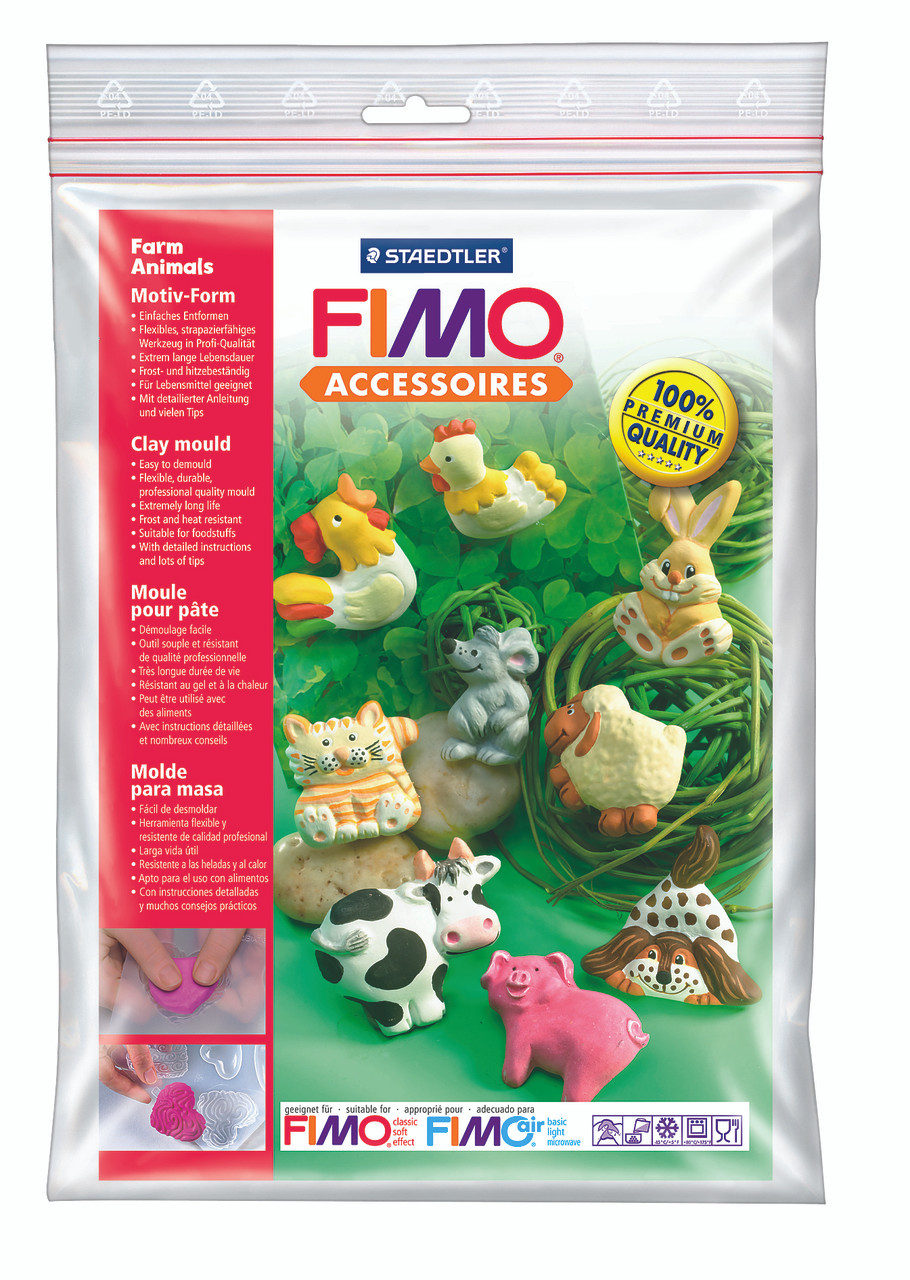 STAEDTLER 8742 01 FIMO CLAY MOULD 9 MOTIFS 5 X 4 CM - FARM ANIMALS
