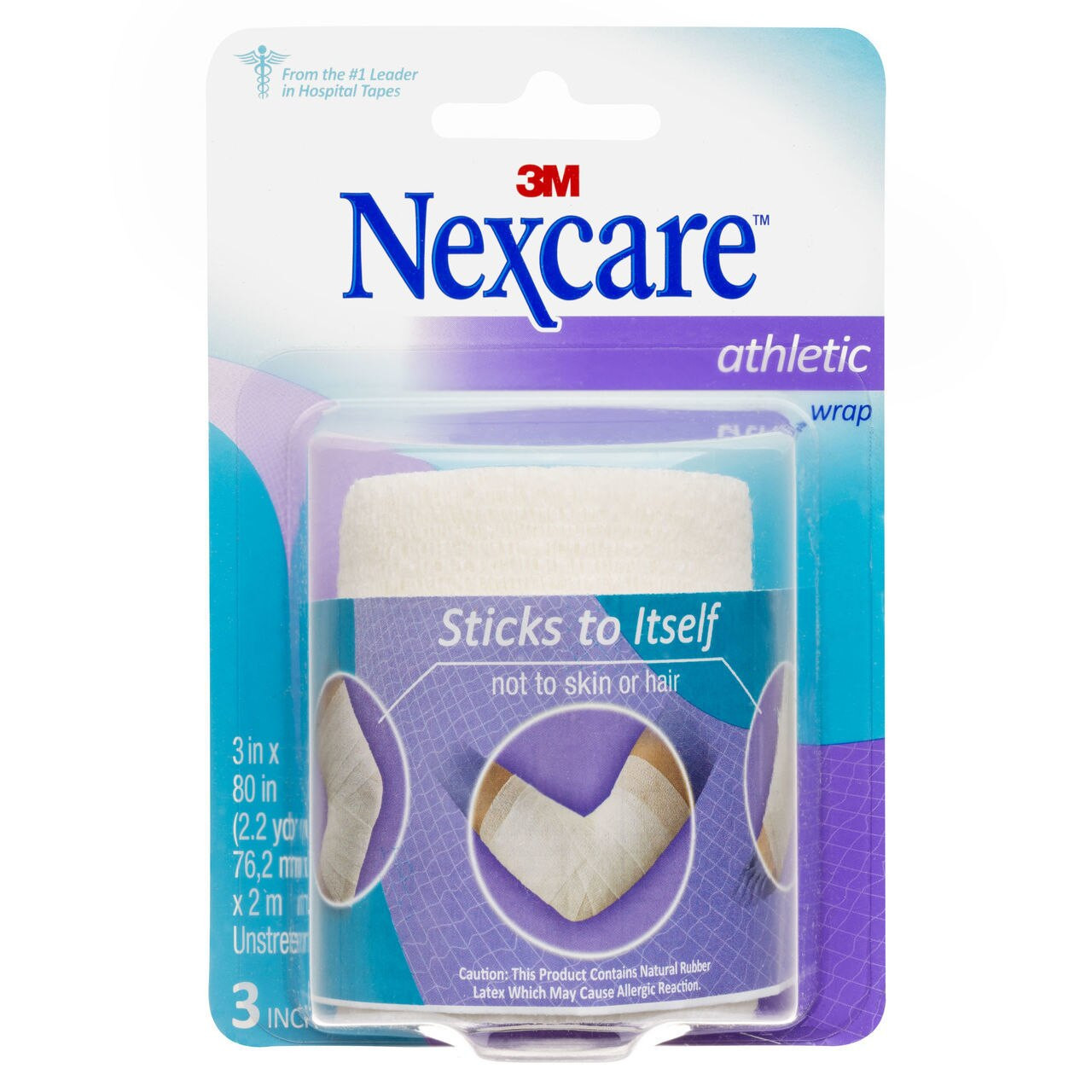 NEXCARE 70071422706 ATHLETIC SUPPORT WRAP UNSTRETCHED CR-3W 75MMX2M WHITE