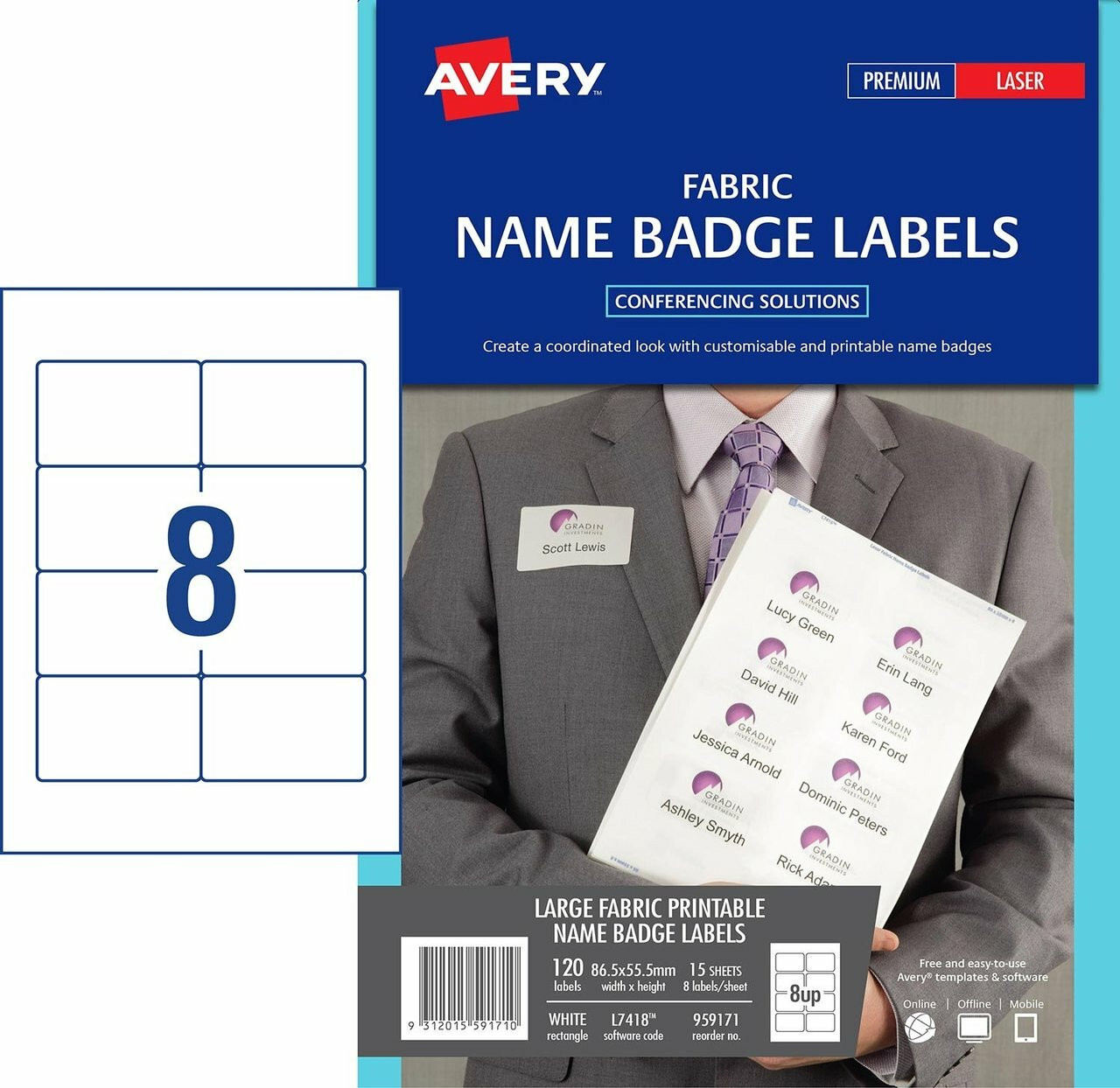 graphic about Printable Fabric Labels titled AVERY 959171 Cloth Standing BADGE LABELS - L7418 - 120/PACK - 86.5 X 55.5 MM WHITE 8UP