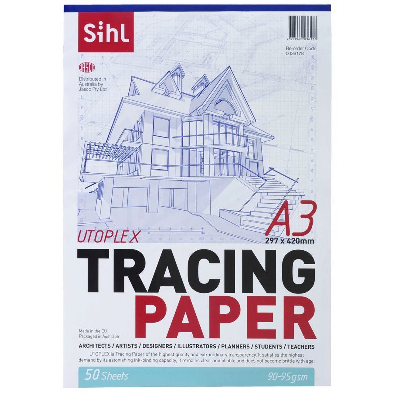 SIHL 0036178 UTOPLEX TRACING PAPER 90-95GSM A3 PACK 50 SHEETS