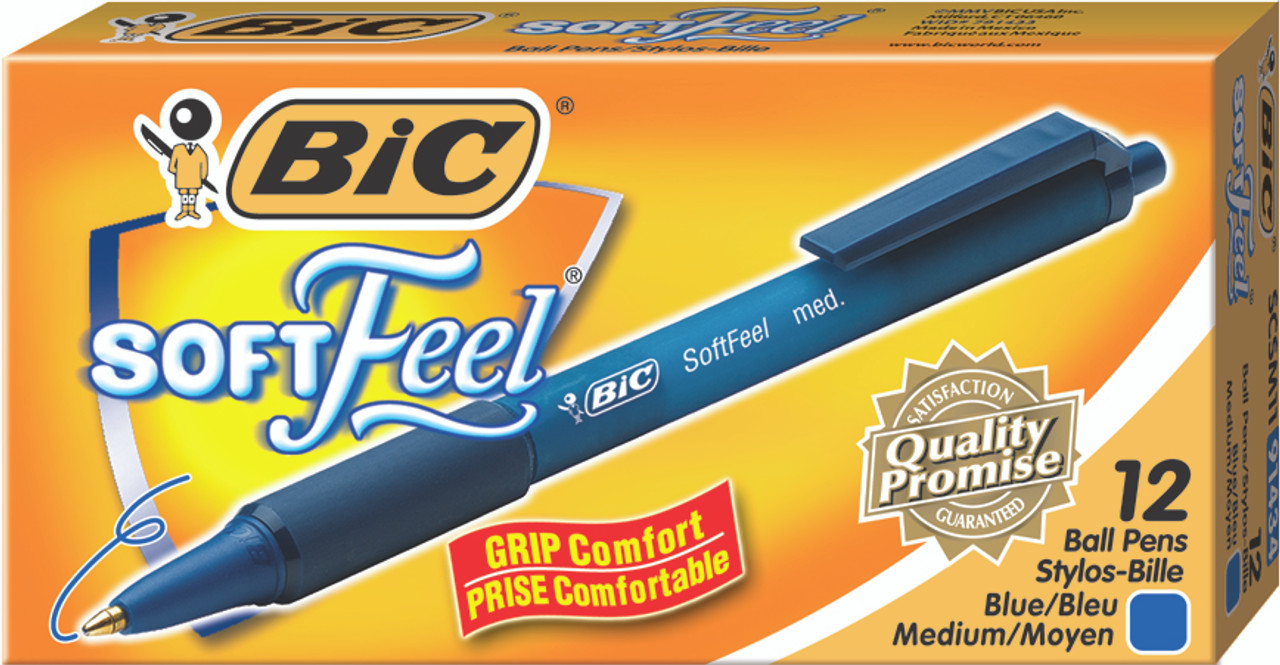 PACK OF 3 NEW BIC EASY GRIP COMFORTABLE SOFT FEEL RETRACTABLE PENS BLACK