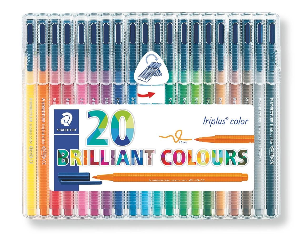 20 Color Assortment Staedtler 323SB20 Triplus 1.0mm Fiber Tip Marker