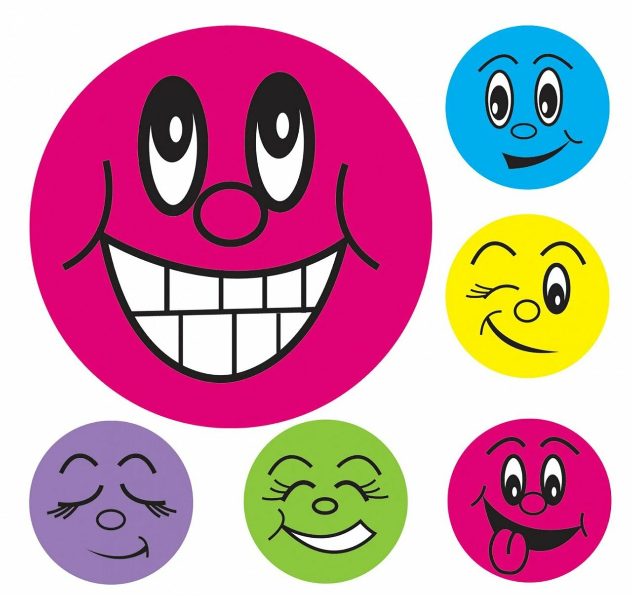 10 Sheets Colourful Happy Round Smile Face Stickers School Reward Merit DIY CA