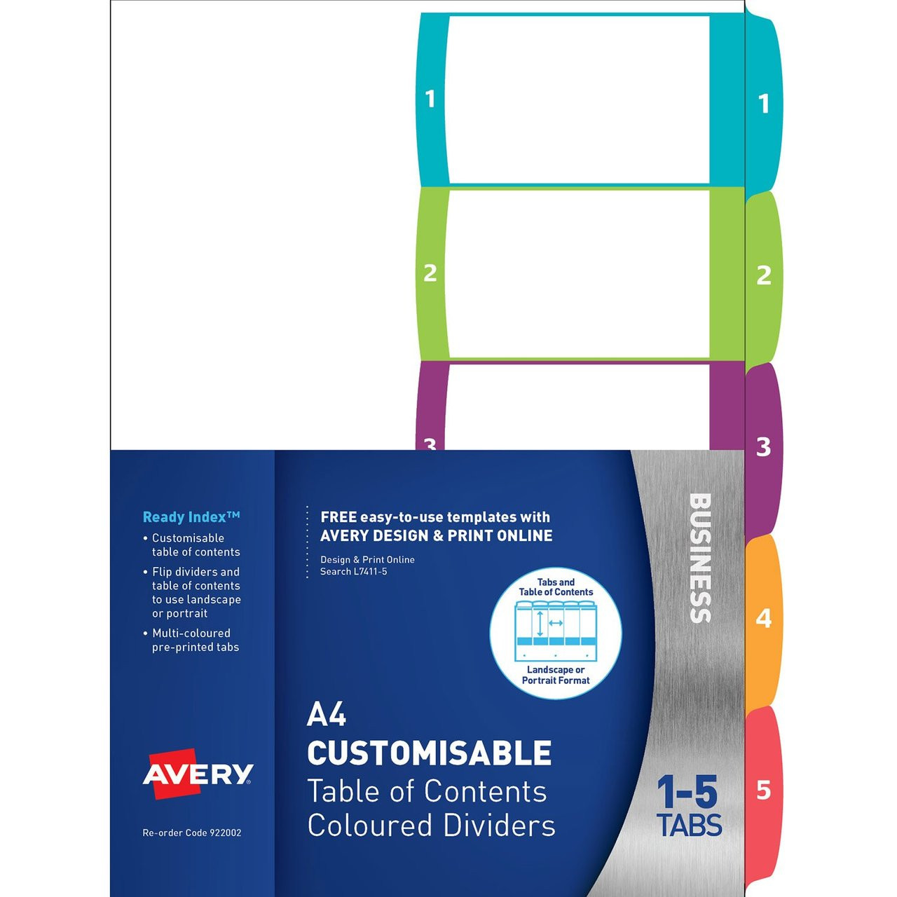 AVERY 922002 CUSTOMISABLE TABLE OF CONTENTS DIVIDERS 1-5 TABS  LANDSCAPE/PORTRAIT READY INDEX (922002 / L7411-5)