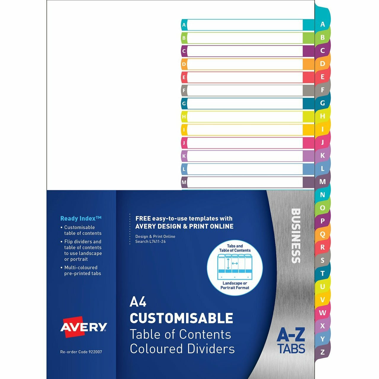 AVERY 922007 CUSTOMISABLE TABLE OF CONTENTS DIVIDERS A-Z TABS  LANDSCAPE/PORTRAIT READY INDEX (922007 / L7411-26)
