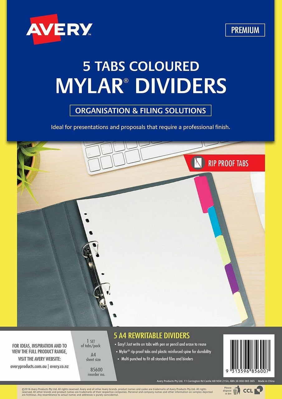 Avery Ready Index Dividers Card Mylar Tabs A4 A-Z Pack of 5