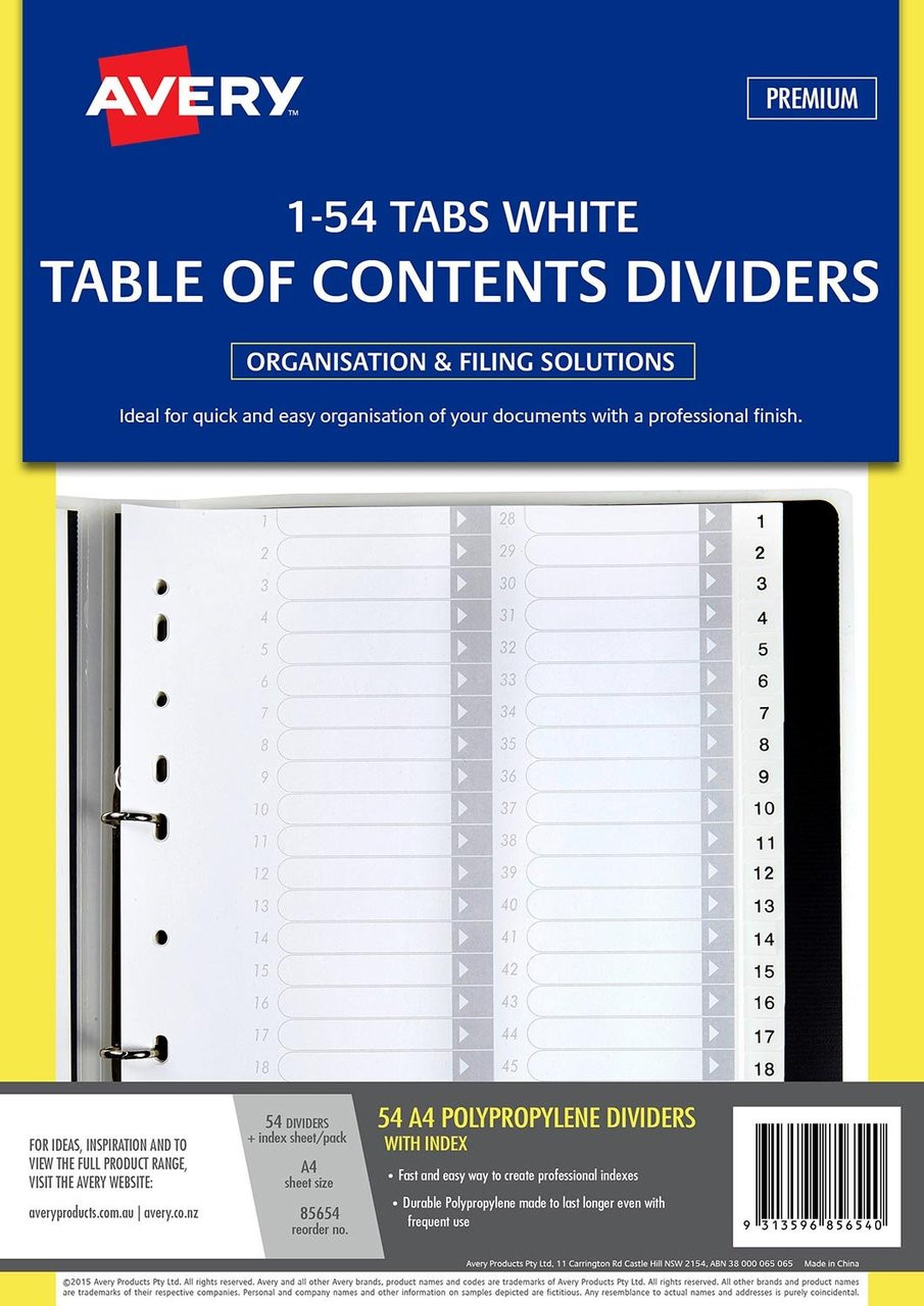 AVERY 85654 DIVIDER 1-54 INDEX TABS A4 WHITE