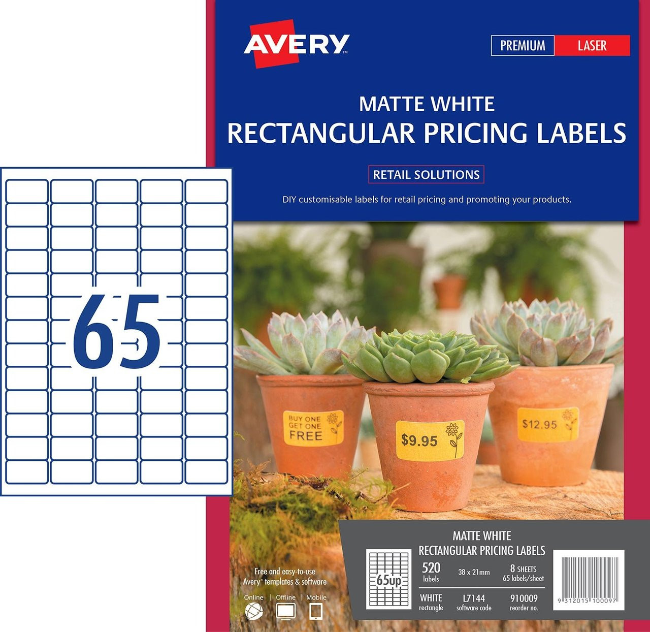 abe4cee12b01 AVERY 910009 MATTE WHITE RECTANGULAR PRICING LABELS - L7144 - 520/PACK - 38  X 21MM |65UP