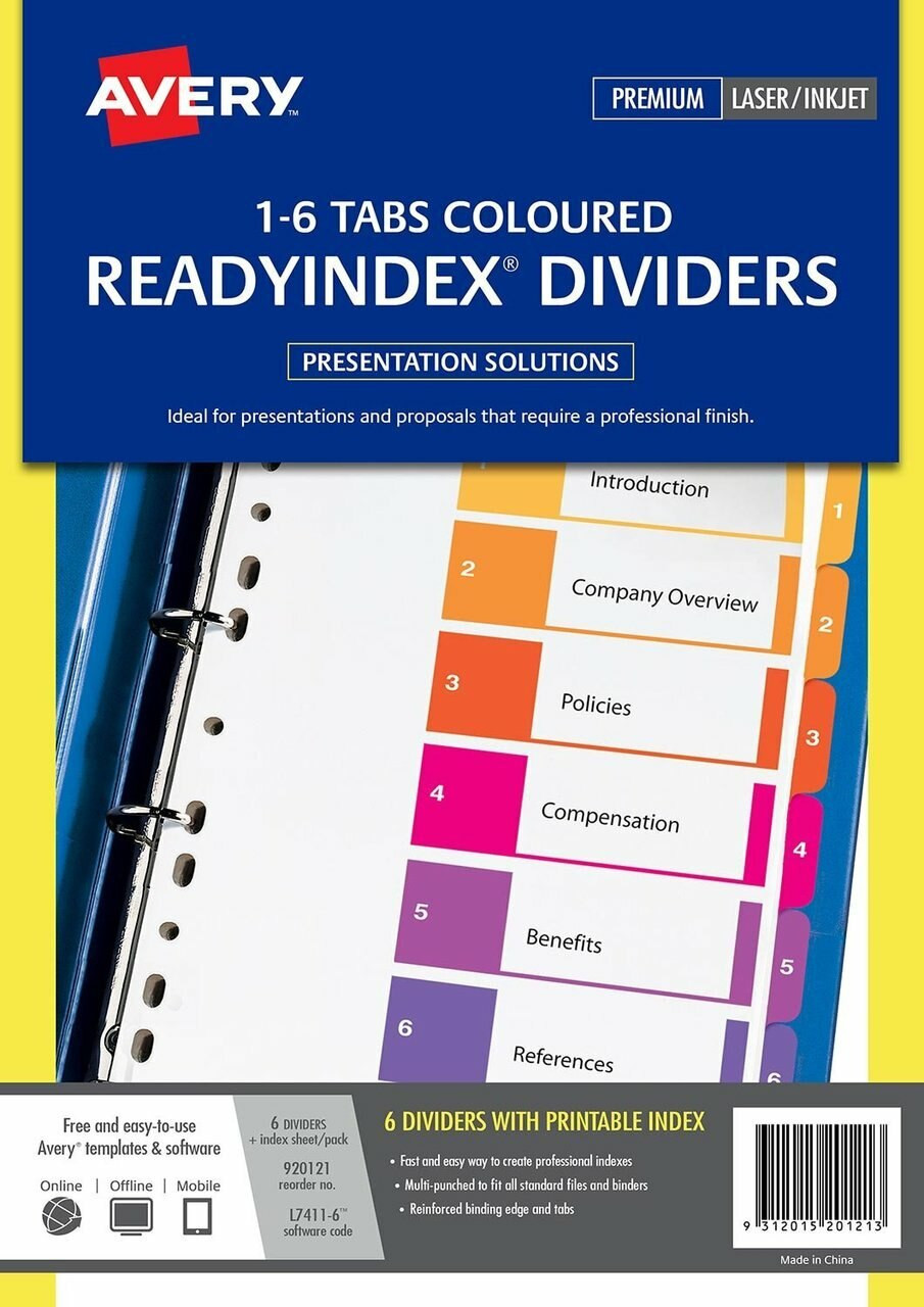 AVERY 920121 MULTI-COLOURED READYINDEX DIVIDERS - 1-6 INDEX