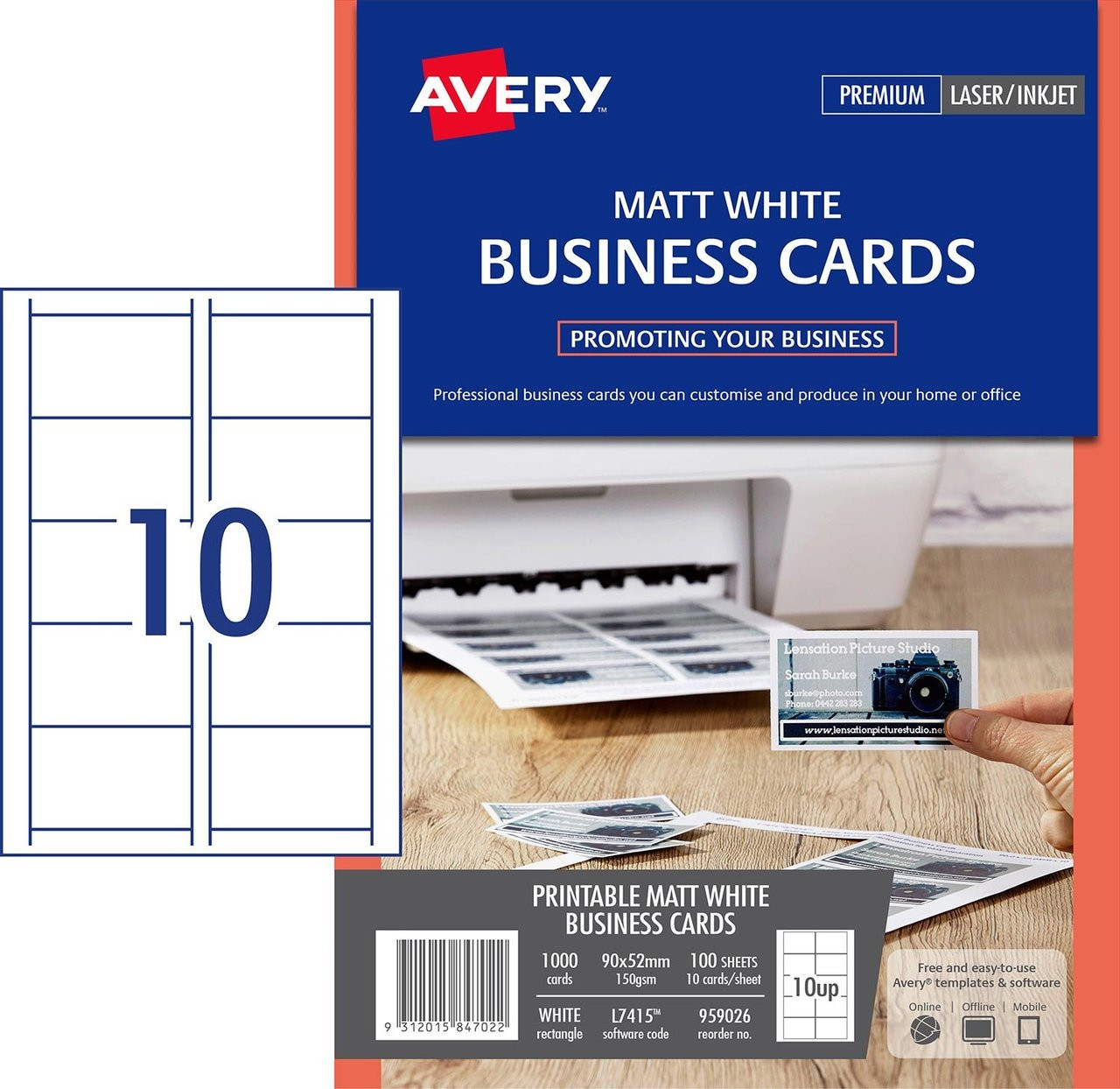 Avery 959026 white micro perforated laser and inkjet business cards matt 150gsm 10up