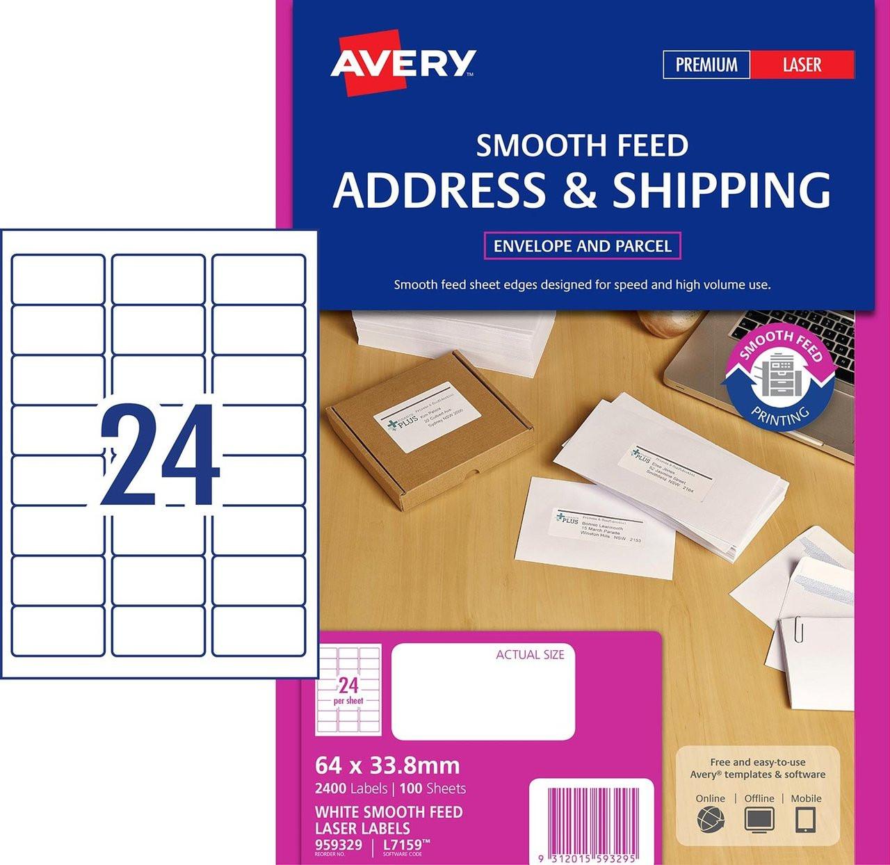 2,400 Address Labels 24 per A4 Sheet Laser Inkjet L7159
