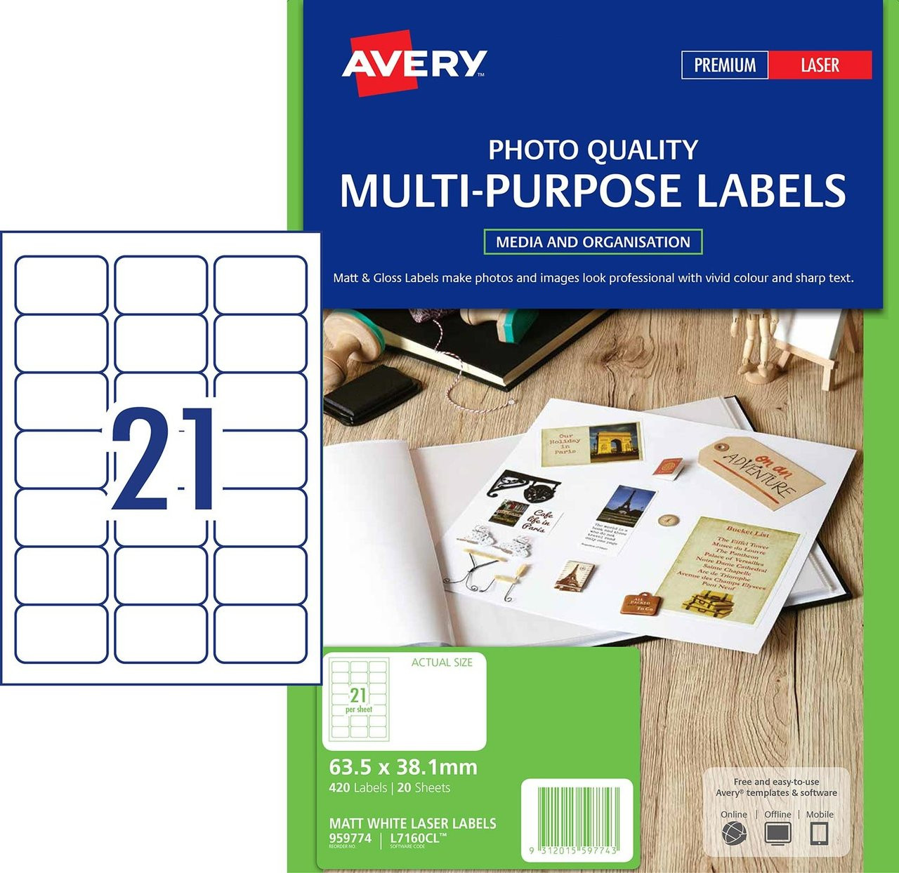 AVERY 959774 MATT WHITE PHOTO QUALITY LABELS - L7160CL - 420/PACK - 63 5 X  38 1 MM |21UP
