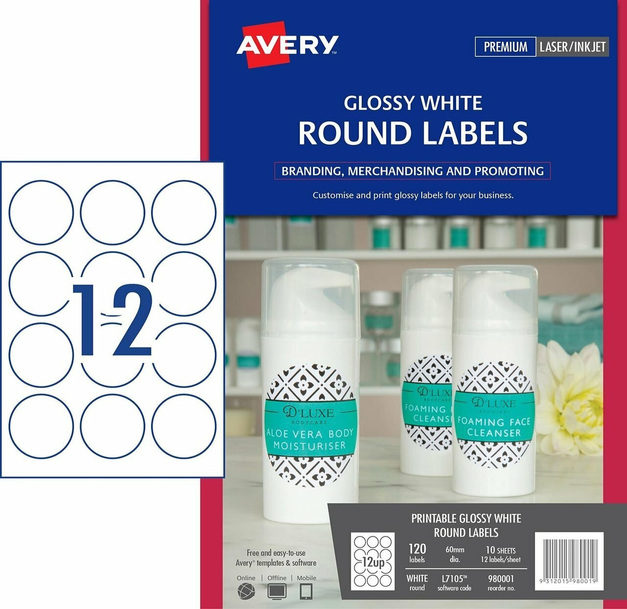 Avery 980001 Glossy White Round Labels - L7105 - 120/pack - 60 mm