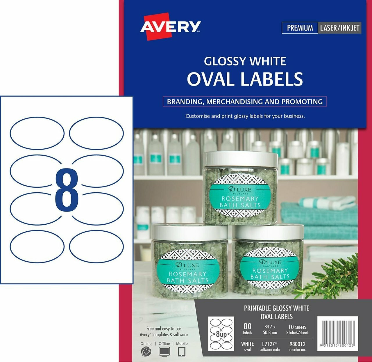 12c4d5bcc355 AVERY 980012 GLOSSY WHITE OVAL PRODUCT LABELS - L7127 - 80/PACK - 84.7 X  50.8 MM |8UP