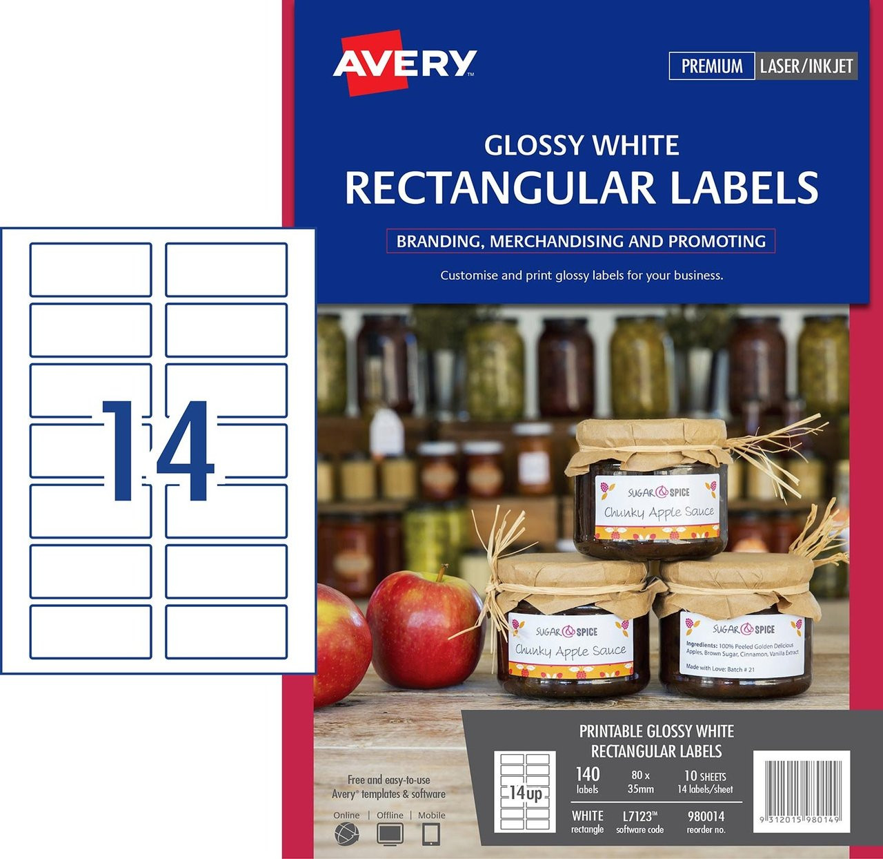16634d3c8647 AVERY 980014 GLOSSY WHITE RECTANGULAR PRODUCT LABELS - L7123 - 140/PACK -  80 X 35 MM |14UP