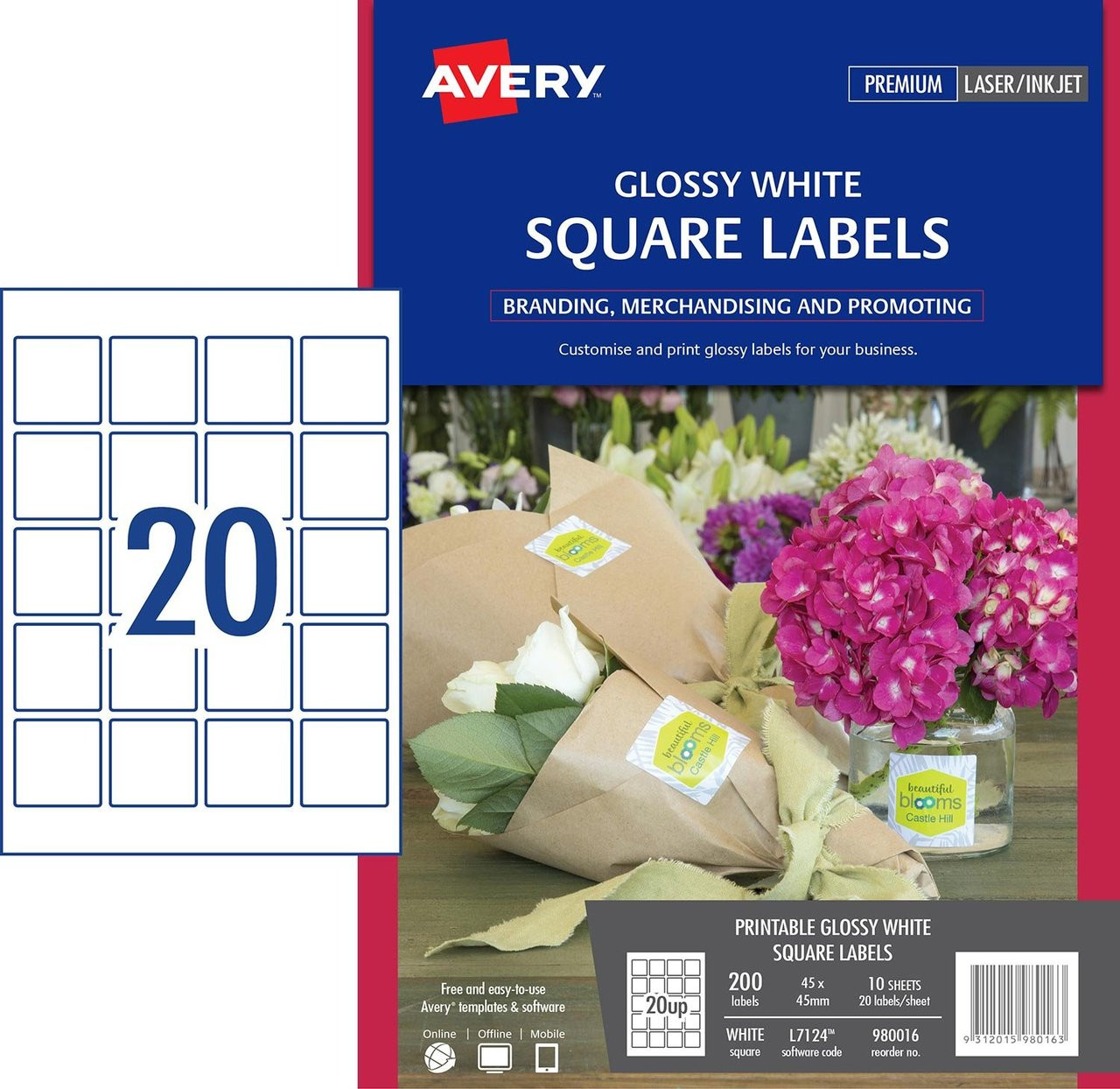 a33557b10639 AVERY 980016 GLOSSY WHITE SQUARE PRODUCT LABELS - L7124 - 200/PACK - 45 X  45 MM |20UP