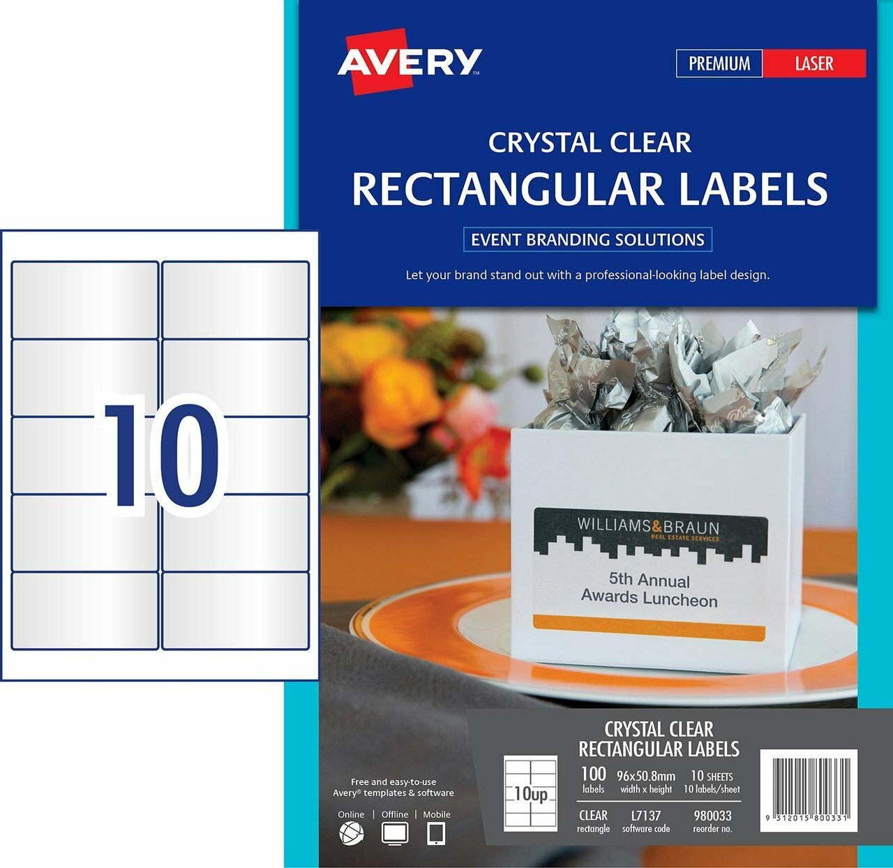 AVERY 980033 CRYSTAL CLEAR RECTANGULAR LABEL - L7137 - 96 X 50 8MM |10UP