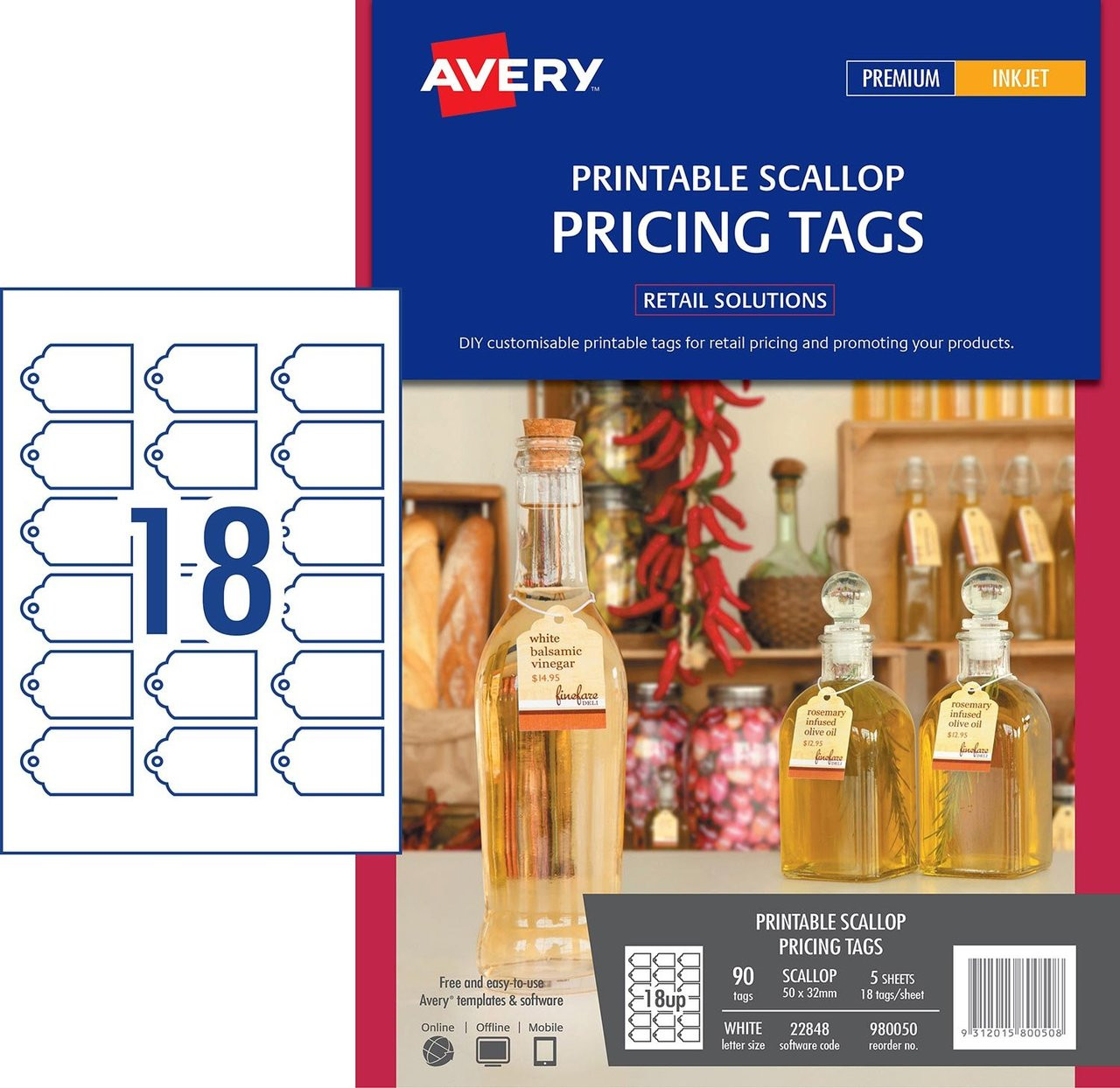 graphic about Avery Printable Tags identified as AVERY 980050 PRINTABLE SCALLOP PRICING TAGS, 22848, 90/PACK, 50 X 32MM 18UP