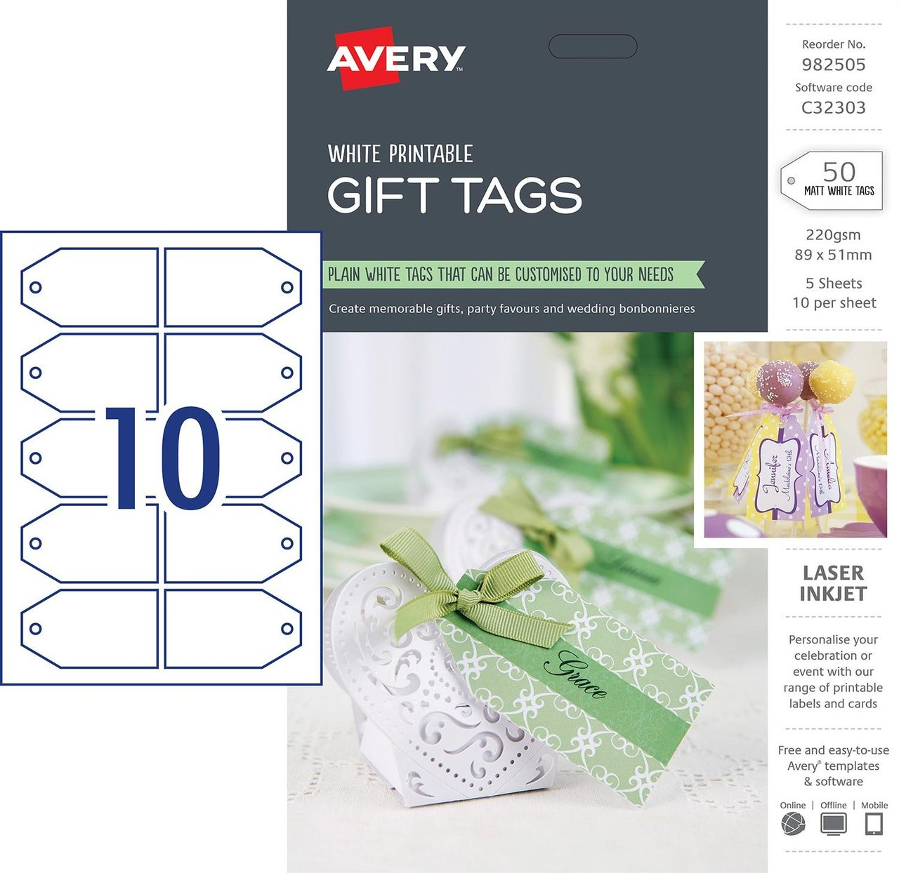 image relating to Avery Printable Tags called AVERY 982505 Present TAGS, C32303, 50/PACK, 89 X 51MM 10UP