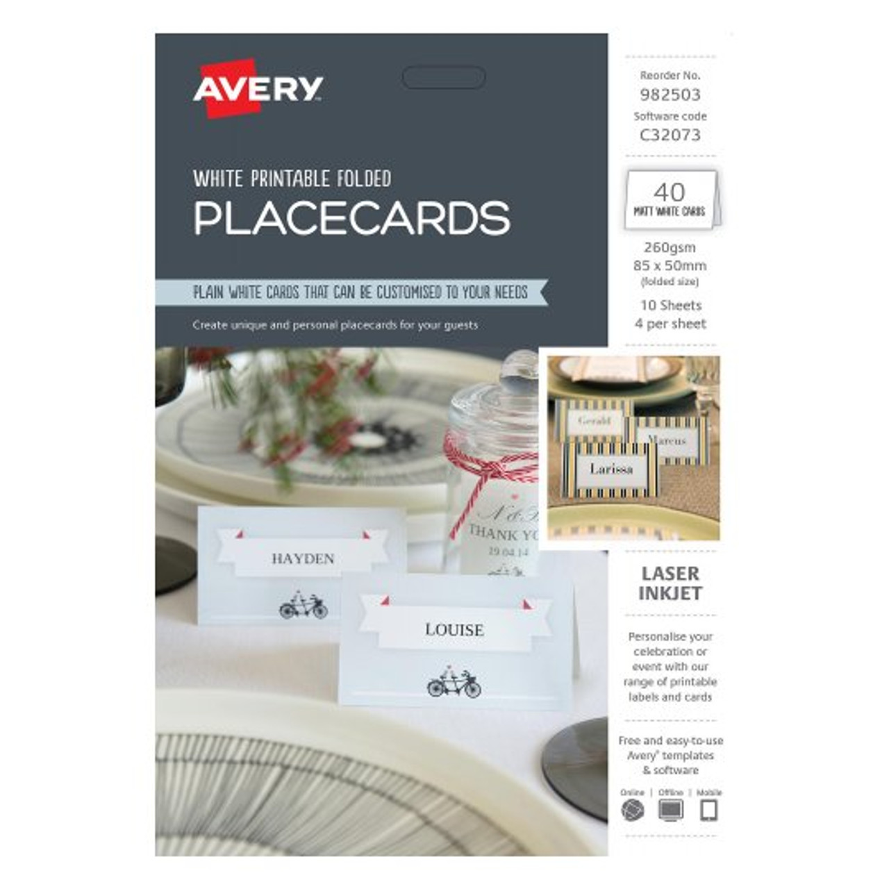 picture regarding Avery Printable Place Cards titled AVERY 982503 FOLDED Position Playing cards C32073 85 X 50 PACK 40 4UP