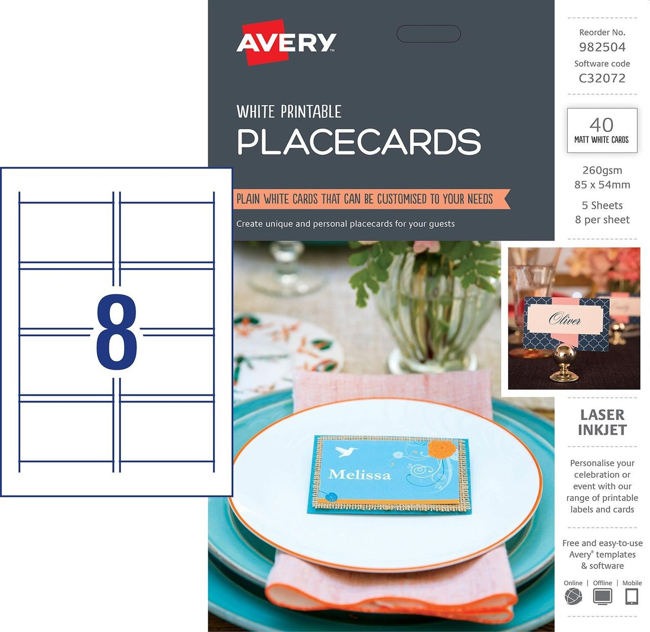 picture about Avery Printable Place Cards known as AVERY 982504 PLACECARDS, C32072, 40/PACK, 85 X 54MM 8UP