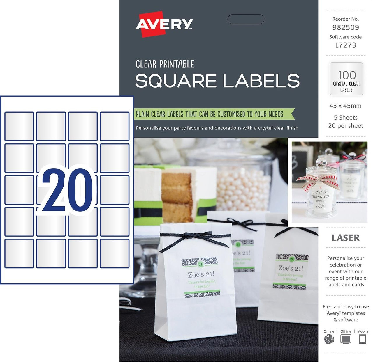 graphic about Clear Printable Labels named AVERY 982509 Crystal clear Sq. LABELS, L7273, 100/PACK, 45 X 45MM 20UP