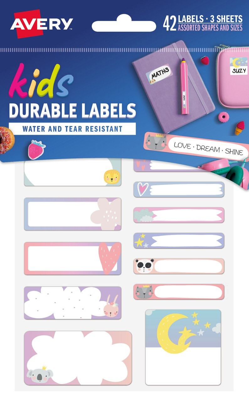 AVERY 41419 LOVE DREAM SHINE KIDS / SCHOOL LABEL (42 LABELS) MULTIPACK