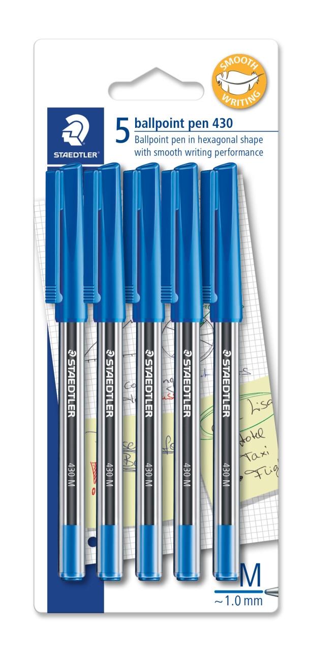 STAEDTLER 430MA-3BK5 STICK 430 BALLPOINT PEN MEDIUM BLUE - 10 BLISTERCARDS