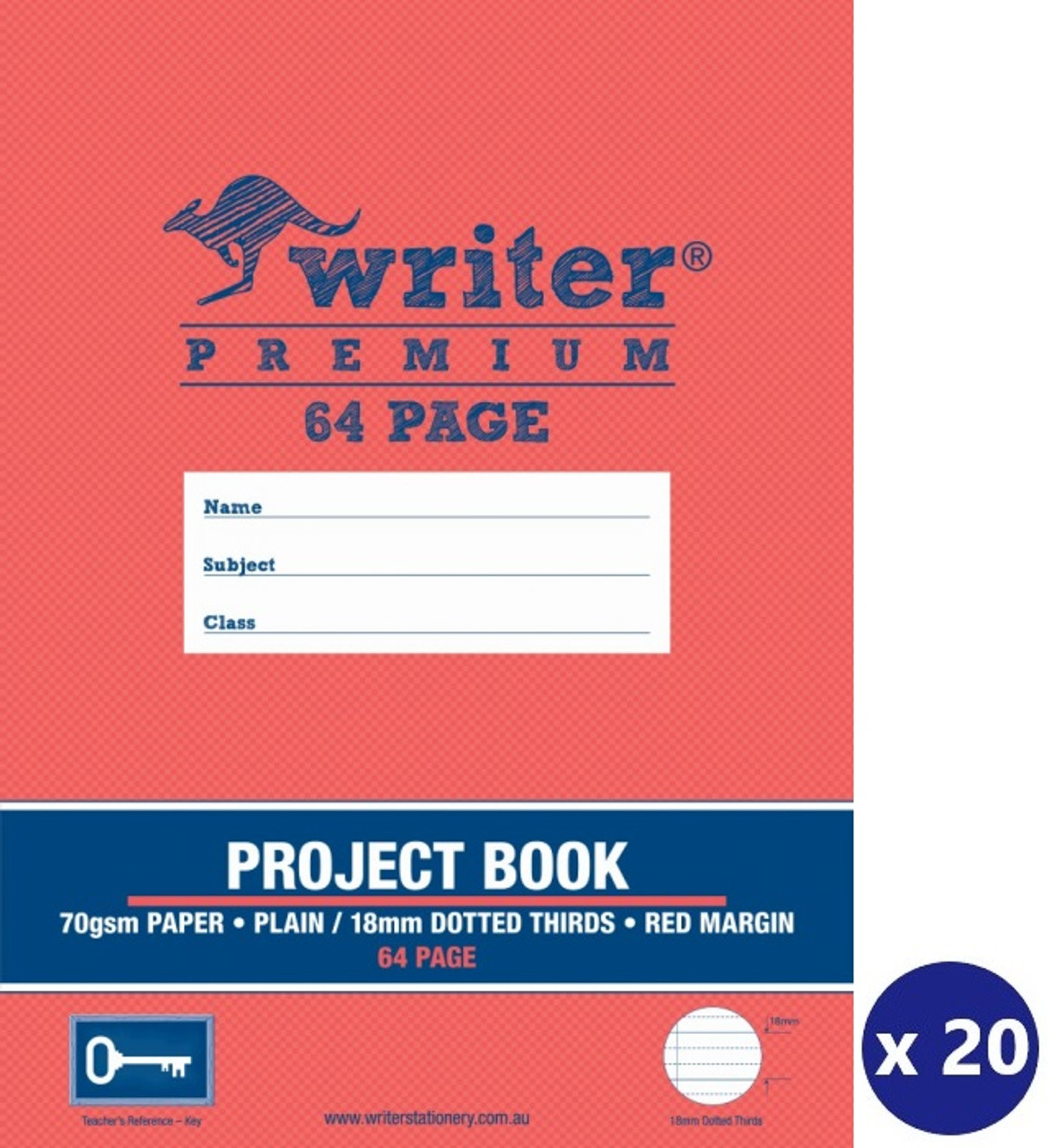 WRITER PREMIUM EB6520 PROJECT BOOK 64 PAGE PLAIN/18MM DOTTED THIRDS WITH  MARGIN (KEY) - PACK 20