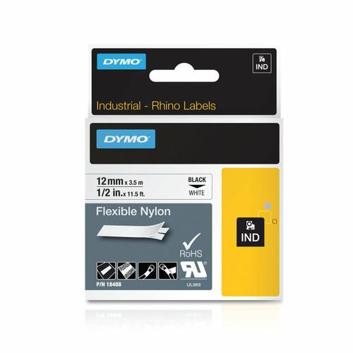 Rhino Industrial Label Tape 19X3 5M Flexible Nylon Blk On W