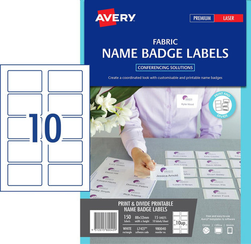 Avery Fabric Name Badge Labels - L7418 - 120/pack - 86 5X55