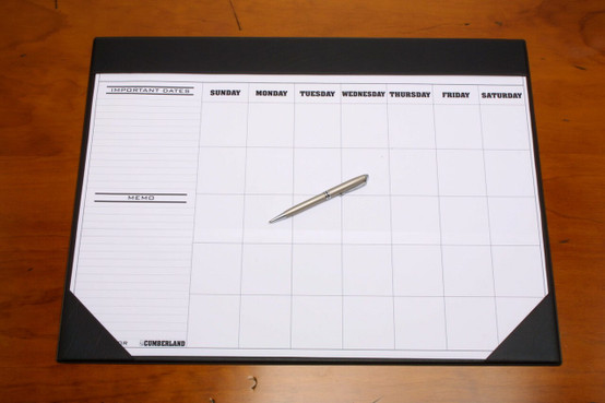 Cumberland Om1002 Desk Mat Pvc With Undated Calendar Clear Cover 455 X 580mm Black