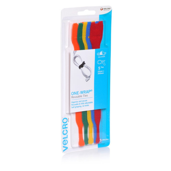 VELCRO© 25553 ONE-WRAP© PRE FORMED REUSABLE TIES 25MM X 200MM MULTI COLOUR  PACK 5