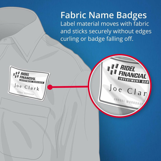 AVERY 959171 FABRIC NAME BADGE LABELS - L7418 - 120/PACK - 86 5 X 55 5 MM  WHITE |8UP