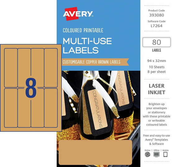 graphic about Printable Trophy Labels titled AVERY 393080 MULTI-Retain the services of COPPER BROWN Colored LABELS 94X32MM, LASER, INKJET, Everlasting - 80 LABELS/10 SHEETS
