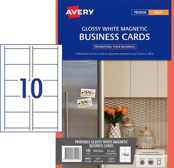 photograph regarding Avery Printable Magnet Sheets identified as AVERY 71019 MAGNETIC Office environment Playing cards PACK 100 10UP