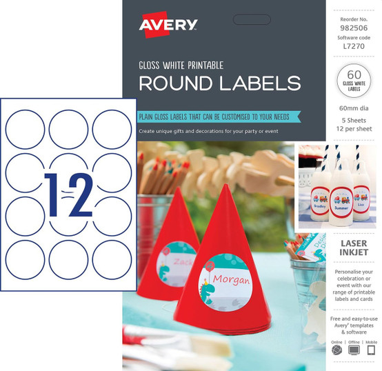 graphic about Avery Printable Stickers titled AVERY 982506 GLOSS Spherical LABELS, L7270, 60/PACK, 60MM DIA 12UP