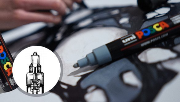 MITSUBISHI PENCIL has developed a unique valve mechanism that guarantees a perfect seal for the marker and conserves the paint over time. The same mechanism is used to prime the POSCA for use and to re-saturate the tip as often as necessary during creation.