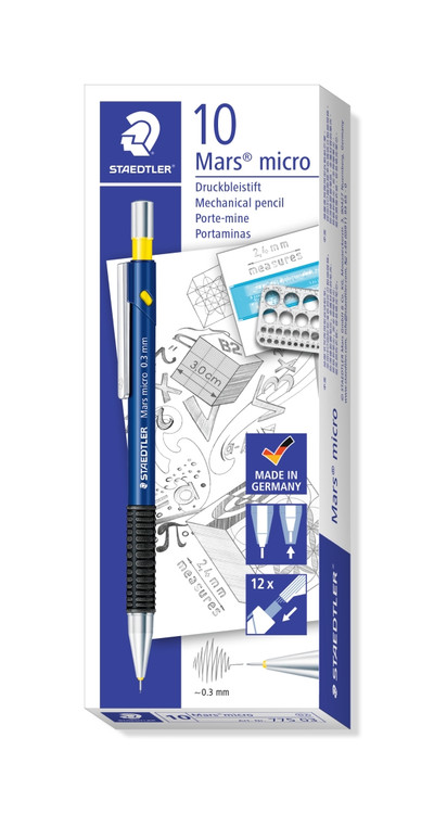 Staedtler Micro Carbon Refill Leads 0.3mm H 1 Tube of 12 Leads