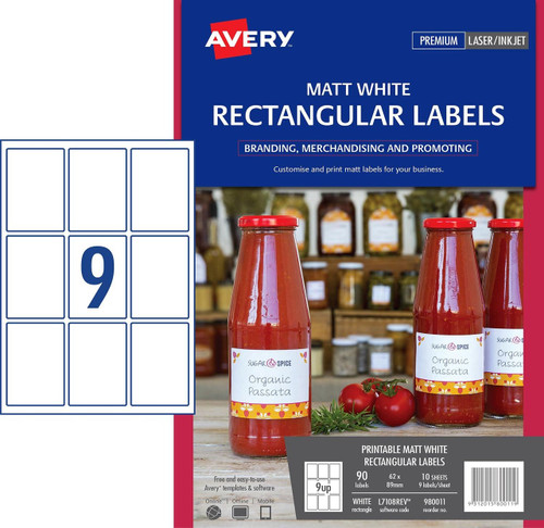 AVERY 980011 WHITE RECTANGULAR REMOVABLE PRODUCT LABELS - L7108REV -  90/PACK - 62 X 89 MM |9UP