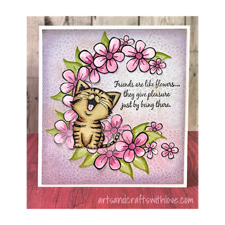 Kitty says Friends Are Like Flowers by Elina