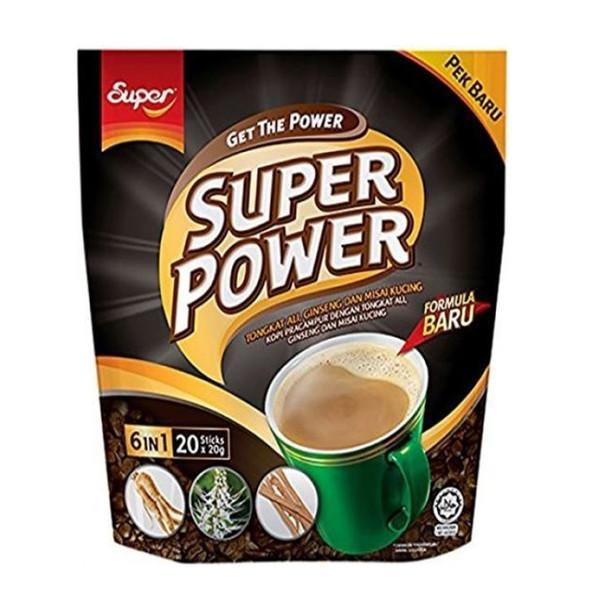 Super Power 6 in 1 Tongkat Ali Ginseng Instant Coffee, 20 Sticks