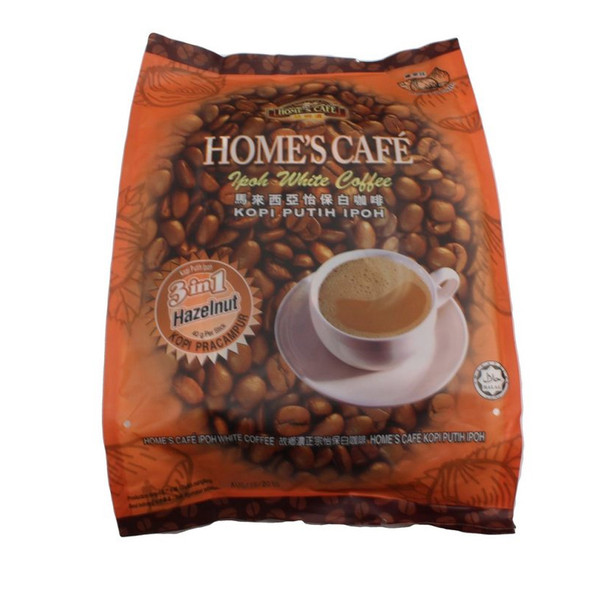 Home's Cafe Malaysia 3in1 Ipoh White Hazelnut Premix Coffee, 15 Sticks