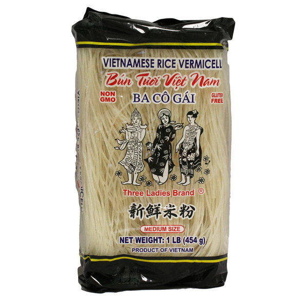 Three Ladies Rice Vermicelli Medium Size 16oz