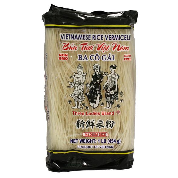 Three Ladies Rice Vermicelli Medium Size 16oz