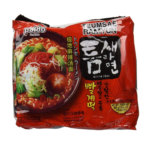 Paldo Teumsae Ramyun Korean Instant Ramen Noodles (5 Packs)